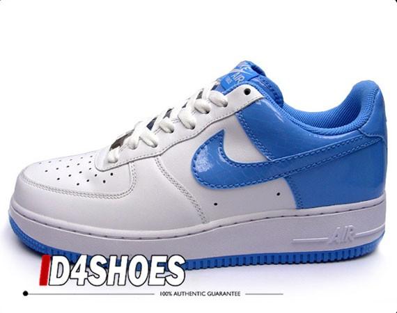 Nike Air Force 1 White University Blue Croc Patent
