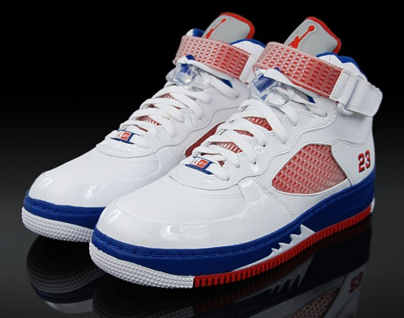 Air Jordan 5 White Blue Red