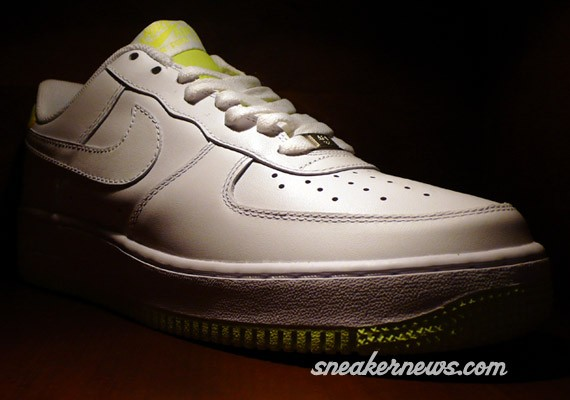 white and yellow air force ones