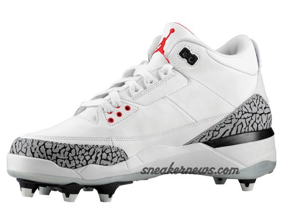 Air Jordan III D - White - Fire Red - Cement - Cleat
