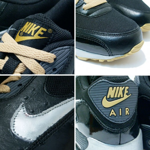 Nike Air Max 90 - Black - Gold - Silver