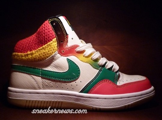 Nike Court Force High – WMNS – Jamaica – Washed Green – Comet Red – Gum Yellow