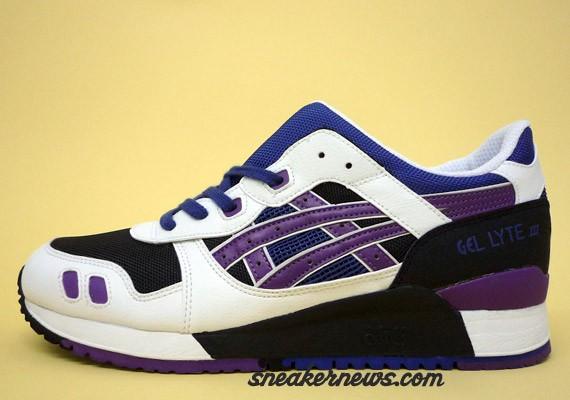 asics gel lyte iii white purple yellow