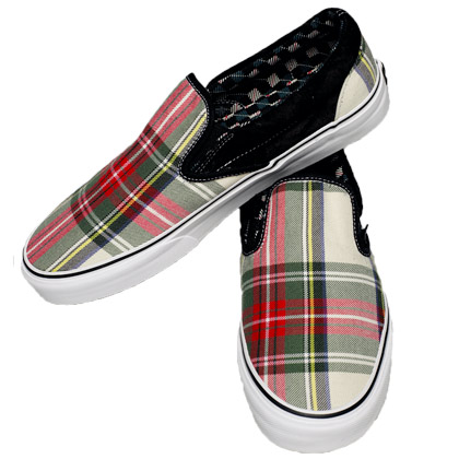 plaid vans slip ons