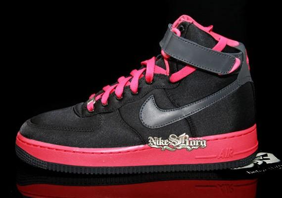 Nike Air Force 1 High Women S Satin Black Pink Sneakernews Com