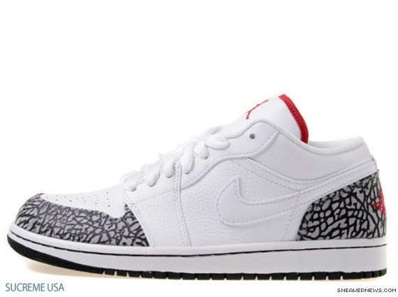 Air Jordan 1 Low Phat White Varsity Red Cement Grey