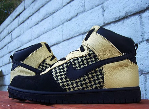 cheap Nike Dunk High Premium Black Gold Dust Houndstooth