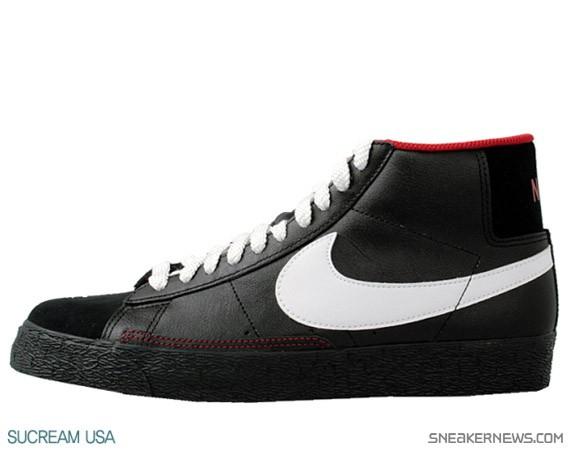 Rouge Et Noir Nike Blazer Haute En Noir Et Blanc