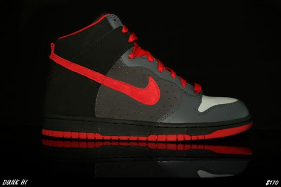 red and gray nike dunks