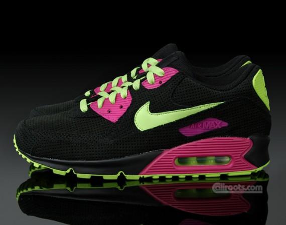 nike air max 90 black grey neon pink
