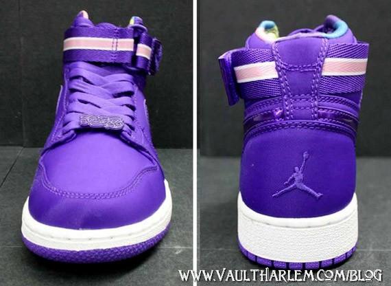 21e650bc0e24 Air Jordan 1 High Womens - Strap - White - Purple - SneakerNews.com