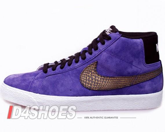 Nike Sb Blazer Alta Premium Mocassini In Camoscio Viola Y2HNKWCs74