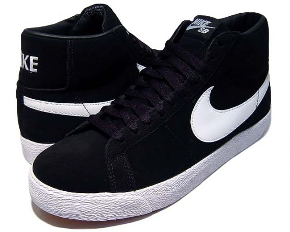 nike sb blazers high black&white