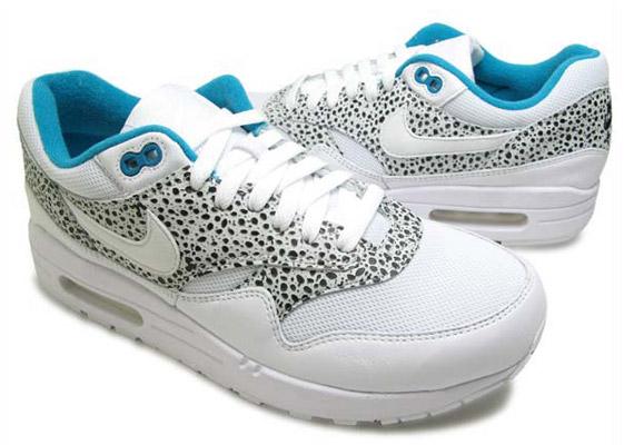 express rapide meilleure vente Femmes Nike Air Max 1 Premier Safari Bleu En Verre Blanc HIuwXhe