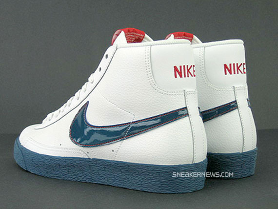 nike blazers navy blue and white