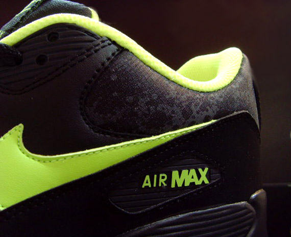 Nike Air Max 90 Black Volt Dark Grey Splatter