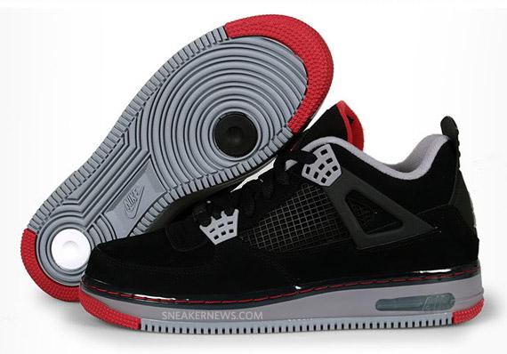 Fusion Air Jordan 4 Fac Noir Remorque Rouge Furtif