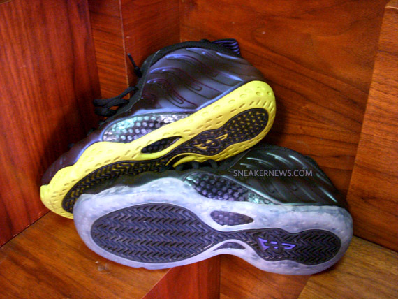 outlet store 76d9b fd9b7 Nike Air Foamposite - Eggplant x Neon - Swapped Sole Customs ...