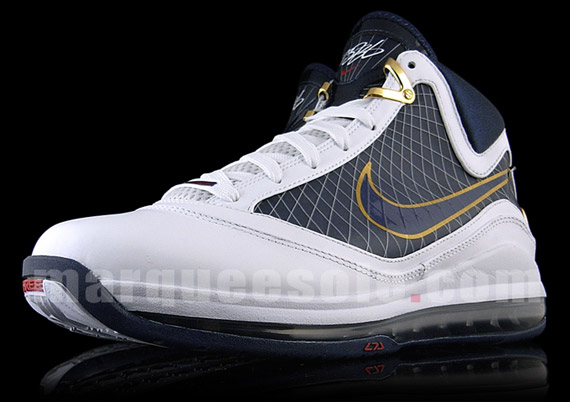 60f59565a3a Nike Air Max LeBron VII - White - Navy - Metallic Gold - SneakerNews.com