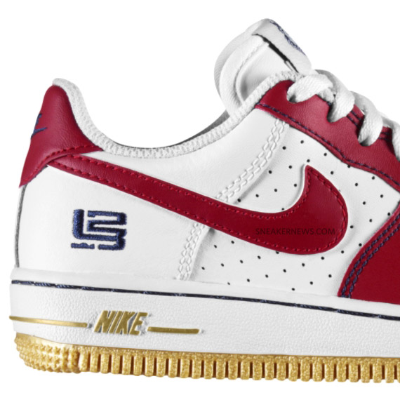 official photos cc080 f561b Nike Air Force 1 GS – LeBron James – White Varsity Red-Metallic Gold