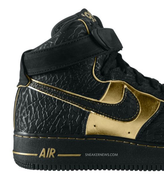 black and gold high top air force ones