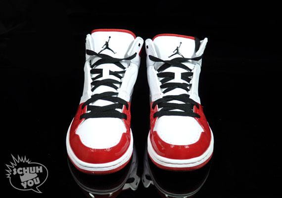 Air Jordan 1 Vol Mi Blanc Rouge PR0cBBc0