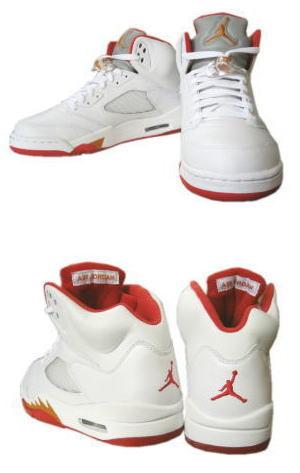 size 40 7a8b9 81247 Air Jordan V (5) 2006 Retro - White / Fire Red - Sunset ...