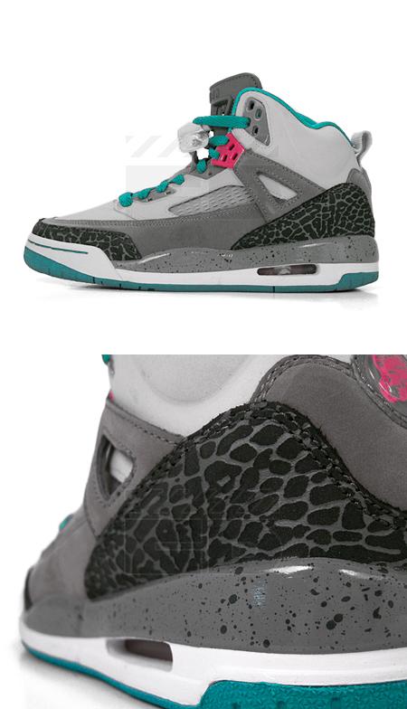 120b6c9e067 Air Jordan Girls Spiz'ike - Neutral Grey - Vivid Pink - Turbo Green ...