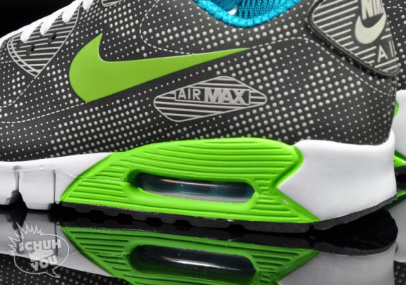 Nike Air Max 90 Actual Moaré Negro Verde Eléctrico OEWNF3F16j