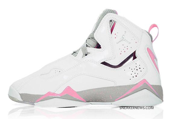 more photos 18736 b68e0 Air Jordan True Flight GS - White - Metallic Silver - Perfect Pink ...