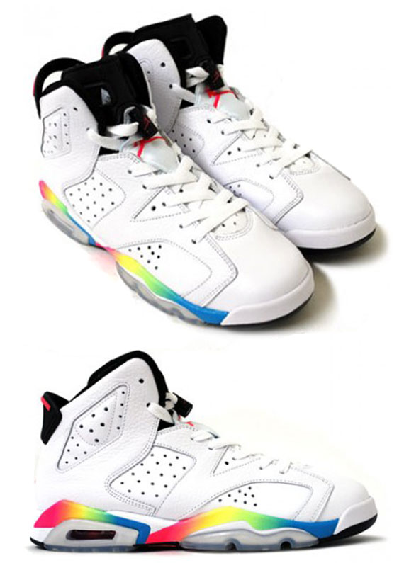 Air Jordan VI GS - White - Rainbow | New Images - SneakerNews.com. Mens Air Jordan 6 Retro White Black shoes