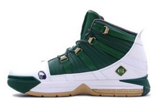 0098852eadd Color  White Gold-Green. Style  312147-139. lebron-3-kid-323