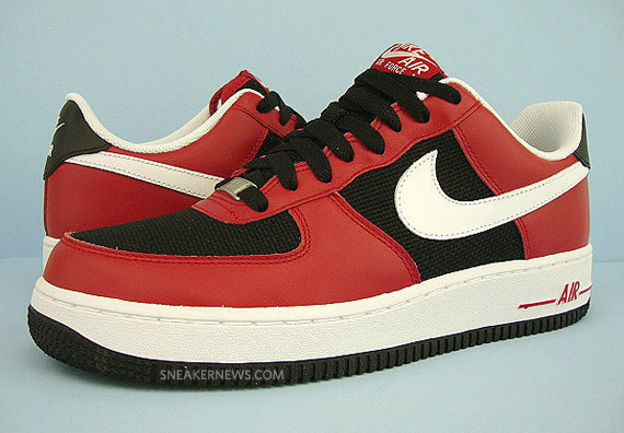nike air force 1 black and white and red