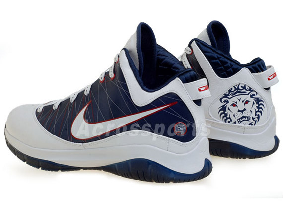 9b798bc7cf44 Nike LeBron VII (7) P.S. - White - Midnight Navy - Sport Red ...