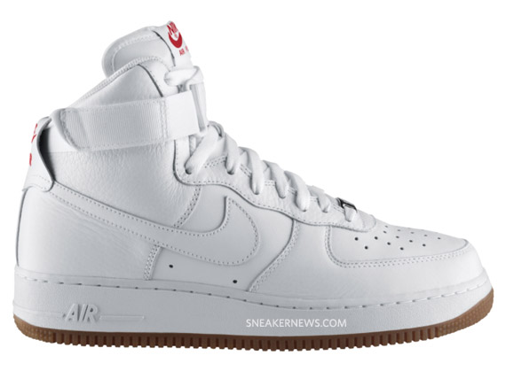 Nike Air Force 1 Høy Hvit / Sport Red / Tyggis qTa1sa7b