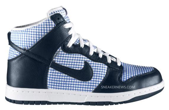 903ae16f6d35 Nike Dunk High Premium - Dark Obsidian - Lyon Blue - White - Gingham ...