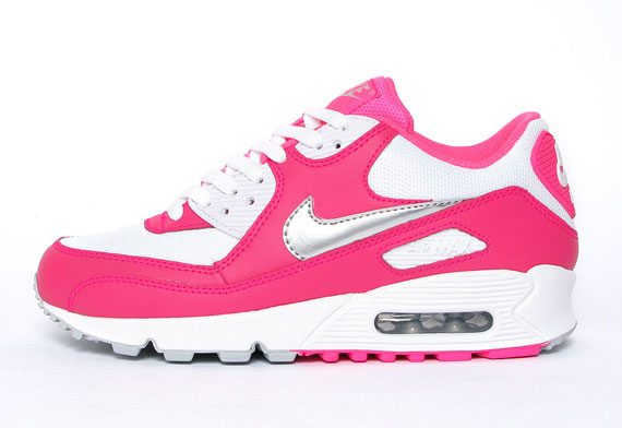 Nike WMNS Air Max 90 White Metallic Silver Pink Flash