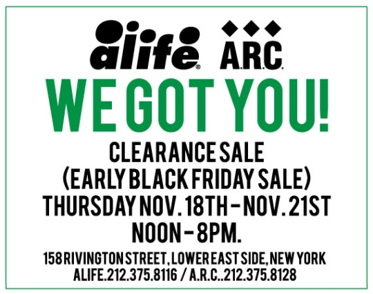 ALIFE / A.R.C. – Courtyard Sale – 11/18 to 11/21