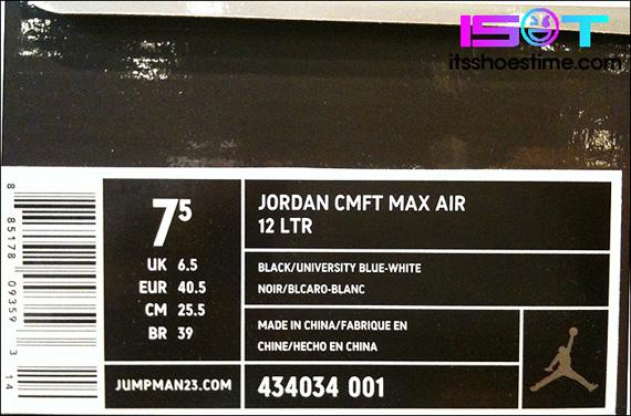 3c320005e8 Jordan CMFT Max Air 12 LTR - Black - University Blue - White | New ...