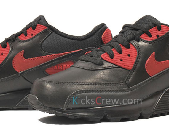 sports shoes e5f61 f986a Nike Air Max 90 Premium – Black – Varsity Red  Available