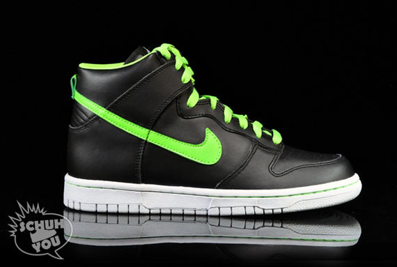 various colors 5c9dc 4c926 Nike Dunk High GS – Black – Electric Green – White – Glow in the ...