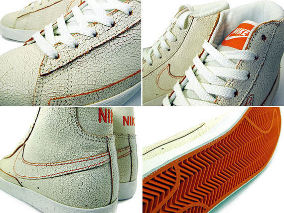 Nike Blazer High Sail Orange Blaze Cracked Leather