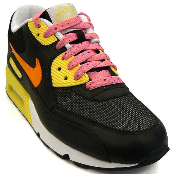 Womens Nike Air Max 90 Black Lemon Frost Orange Pink