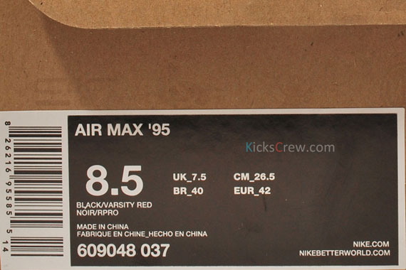 Nike Air Max 95 Nero Varsity Rosso ddn5hE
