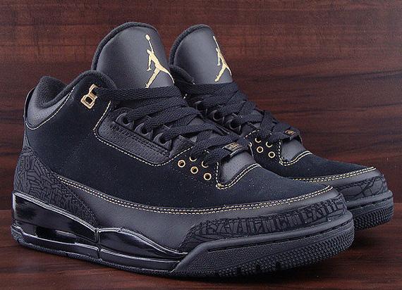 air jordan 3 black and gold