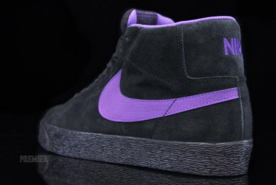 Primitivo versus Lengua macarrónica  Nike SB Blazer High QS - Black - Varsity Purple - SneakerNews.com