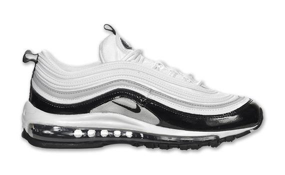 Nike Air Max 97 White Black Patent Metallic Silver