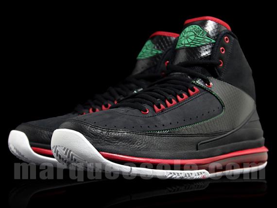 Air Jordan 2 De Noir Rouge Vert