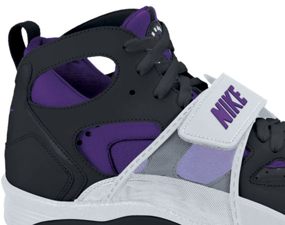 nike huarache purple and black