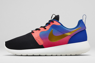 "e444714b8cbf67 Nike WMNS Roshe Run HYP PRM ""Mercurial Collection"" Color  Black Metallic  Gold Coin-Volt-Hyper Turquoise Style Code  677308-002. Release Date   06 12 14"